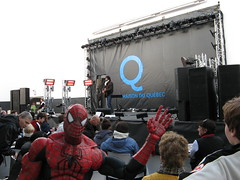 Spider-Man walks through Maison du Quebec (Quebec House) in Concord Place (during the 2010 Vancouver Olympics)