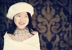 C R Y S T A L (Shana Rae {Florabella Collection}) Tags: portrait white girl necklace cosmopolitan child crystal sophie wrap backdrop beret damask florabella shanarae florabellaactions dropitmodernbackdrop