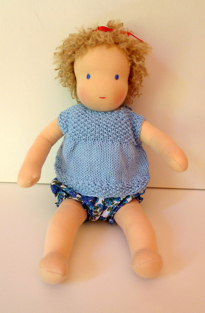Mia's baby Sally in her bloomers and tshirt
