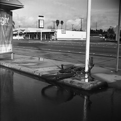When I fall behind (QsySue) Tags: street camera blackandwhite reflection building tlr water westminster rain bike bicycle cloudy pole 120film busstop sidewalk orangecounty mudpuddle lubitel166b twinlensreflex expiredfilm developedathome agfafilm reallyoldfilm isopaniss like30yearsold titleisakatatonialyric