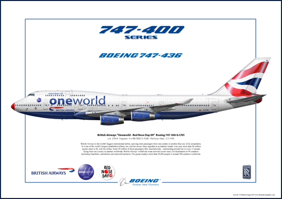 British Airways - Oneworld - Red Nose Day 09 - Boeing 747-436 G-CIVI