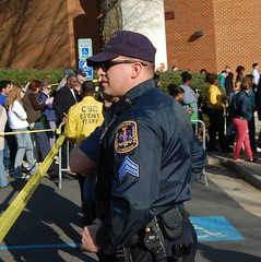 Protecting the President at GMU. (mdfriendofhillary) Tags: obama mdfriendofhillary healthcare publicoption obamacare teabaggers teaparty georgemasonuniversity patriotcenter gmu democrats police cops lawenforcement leos