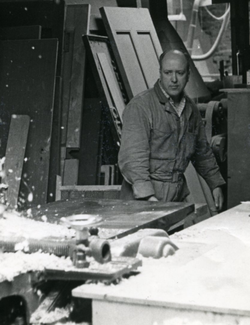 Jim Hamilton head foreman at Alex Milne and Sons Joiners and Shopfitters, 1960s.