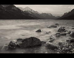 Washed away (brandon.latcham) Tags: longexposure mountains rocks shoreline 1855 watertonlakesnationalpark neutraldensity canonxti