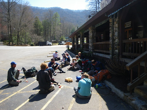 Hikers hanging out at Fontana Dam General Store