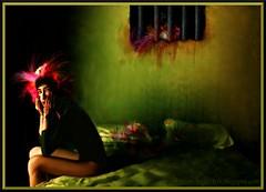 "'Mariana Meteoro' ""She Rooster"" (Juan_Angel) Tags: she blue portrait woman art argentina girl beautiful beauty illustration angel digital dark comics painting dead mexico photo blood mujer eyes women tears comic chica arte heart juan maria paintings gimp evil lips bamboo mexican innocence linux rooster redondo darling ubuntu mujeres wacom mariana pintura redo meteoro juanangel bloodtears camberros"