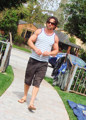 Yard Sale 007 (danimaniacs) Tags: man hot cute sexy male guy yard beard glasses sale muscle muscular candid stripes handsome hunk tanktop shorts biceps scruff braghettoni