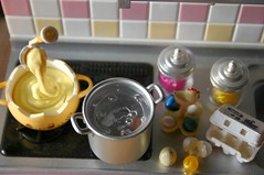 Easter Egg Prep, Step 1: Boil the eggs (lili_mini) Tags: kitchen easter toy miniature chocolate treats mini eggs rement eggcarton boilingwater