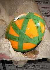 tape decorated dyed easter egg