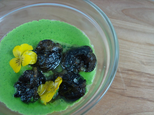 Burgundy Escargots, Garlic Flan, Green Jus, Yellow Flowers @ LudoBites 4.0