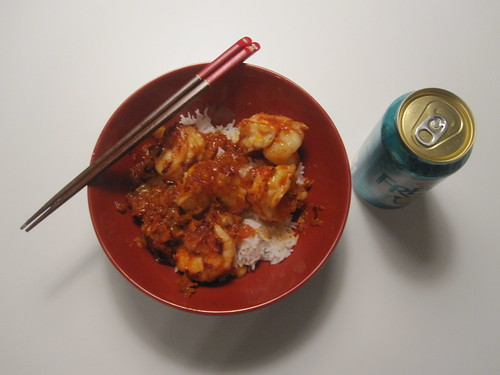 Prawns in tomato, carrot and shallot sauce, rice, Fresca