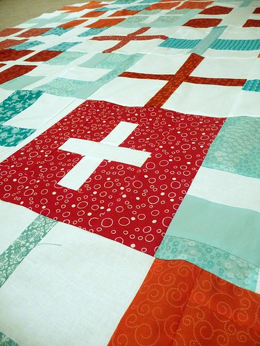 red and aqua cross quilt detail