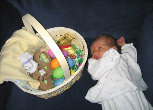 Hannah contemplates her first Easter basket