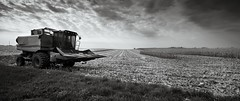 Panorama of the Midwest (jrobfoto.com) Tags: bw panorama field canon eos blackwhite spring corn raw farm harvest fullframe plough harvester tiltshift route71 jonathanrobsonphotographycom 5dmarkii silverefexpro