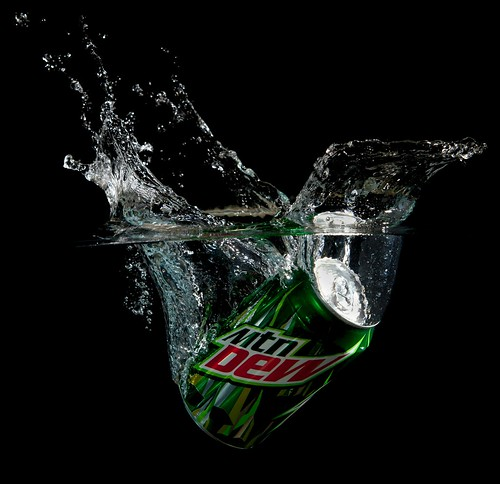 Mountain Dew Water Splash against black