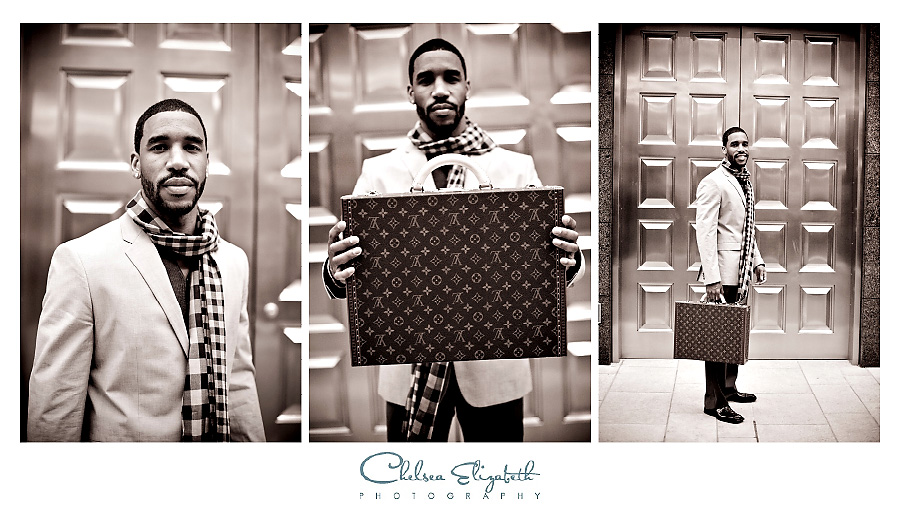 hip groom at engagement session with Louis Vuitton briefcase in front of tiffany's