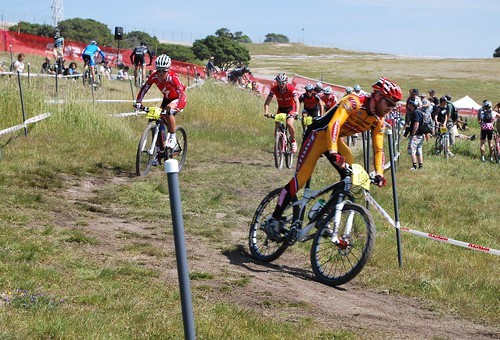 Warmup for the Short Track Professional Men's mountain bike event