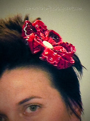 red bandana hair clip fabric