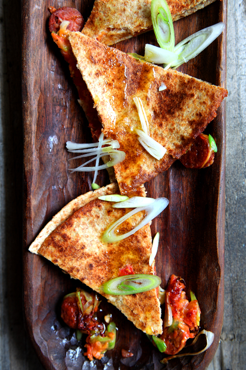:: Chorizo and Spring Onion Quesidillas