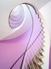 Vertigo (Philipp Klinger Photography) Tags: pink light shadow white house caf lines wall architecture stairs photoshop germany munich mnchen spiral bayern deutschland bavaria cafe nikon europa europe stair bright oberbayern violet lavender vertigo rail ps crack treppe staircase architektur handrail winding cracks railing altstadt philipp corkscrew dri marienplatz circular newel glockenspiel balustrade blending klinger layerblending d700 manualblending