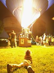 Balloon fire (CaesarNC) Tags: night fire glow kentucky hotair balloon warmth olympus louisville glimmer derbyfestival balloonglimmer e510 flickrchallengegroup flickrchallengewinner