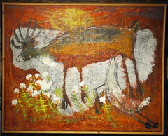 Reidar Särestöniemi (tvbrt) Tags: flowers brown sun white museum finland painting reindeer lapland calf reidar oiloncanvas kittilä särestöniemi marshtea arcticantarctic