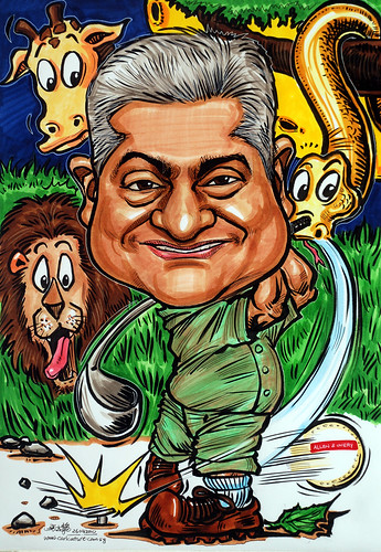 Caricature for Allen & Overy - night safari golf