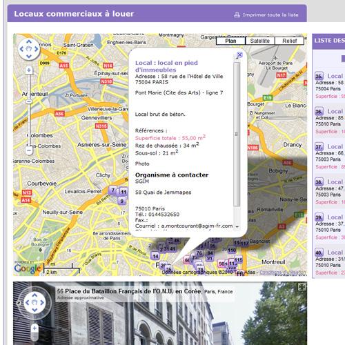 site recherche de locaux de la ville de Paris