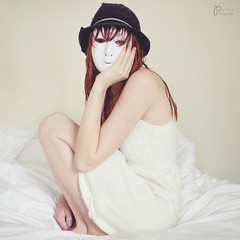 (Polly-Thomas) Tags: selfportrait girl hat mask pastel redhead redhair squarecrop trilby wethair whitedress 35mmf18 nikond90
