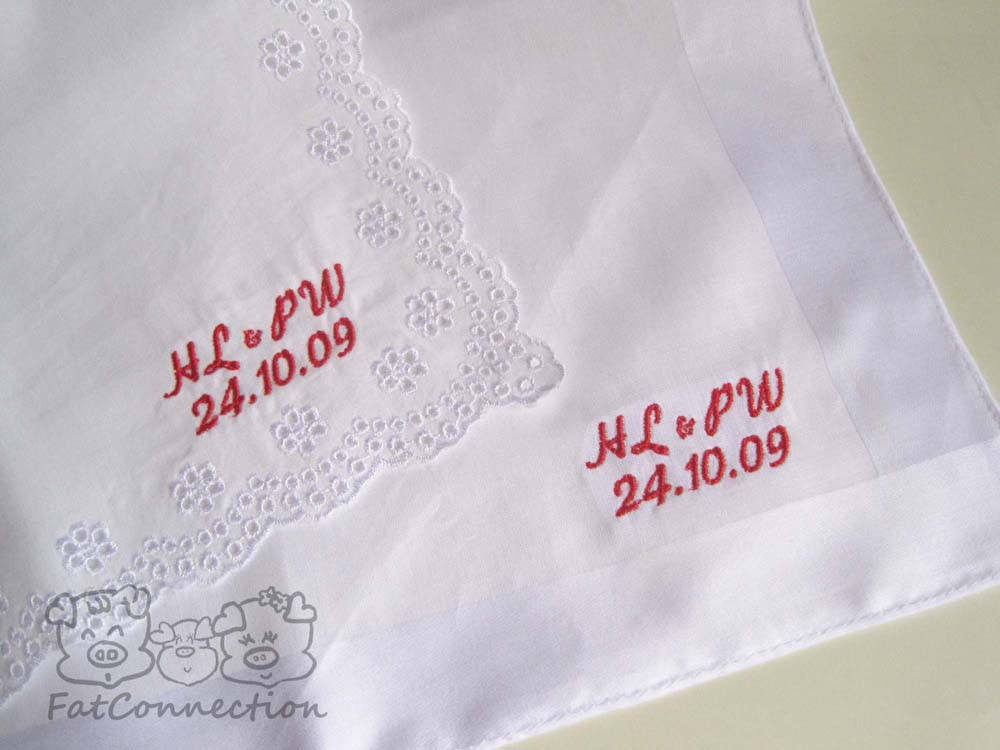 Customised embroidery on handkerchiefs