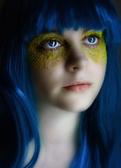 Day Two Two Two (Lou Bert) Tags: blue portrait eye girl self gold wig dust