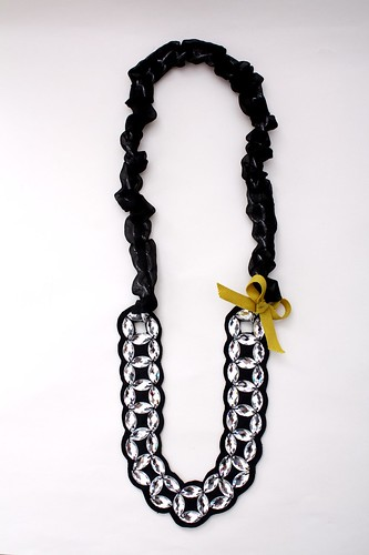 crystal chains - yellow bow
