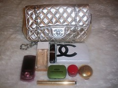 Gold Chanel Clutch for a Glamorous Night on the Town (All Things Bright 'n Beautiful) Tags: perfume purse chanel compact mints clarins samsungmobile chanellipstick ysltoucheeclat