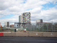 Colourful Balconies (Andy Wilkes) Tags: london andy river site construction view stadium centre tube may andrew arena lea inside olympic build handball velodrome 2012 2010 wilkes aquatics londonist marshgate insidelondon2012