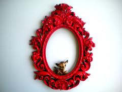 forbidden apple (amye123) Tags: red wall vintage french colorful bright deer romantic ornate baroque homedecor scroll oval pictureframe cherryred upcycle applered sirfgirlbybay amye123