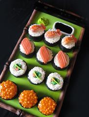 Sushi Mini Cakes (ArtisanCakeCompany) Tags: california birthday green cake sushi portland sticks sauce salmon shrimp mini bamboo sprinkles chop roll soy wasabi roe artisan fondant
