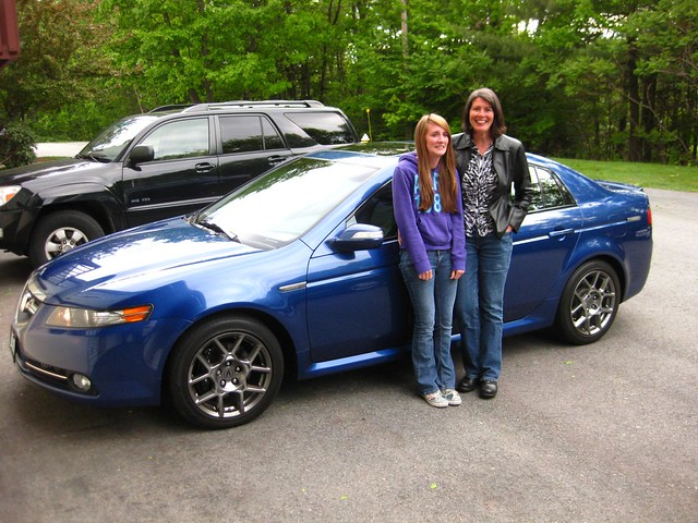 acura tl 2008 mother daughter blue car
