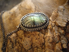 oval labradorite pendant (Bear Country Studio) Tags: gothic medieval romantic mystical newage labradorite healingstonelabradorite