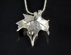 """Autumn Leaf"" Silver Necklace (EfratJewelry) Tags: silver handmade jewelry pearls jewellery pearl sterling 925 oxidized silversmith metalsmith sterlingsilver            efratjewelry"