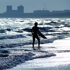 Shining sea (**sione**) Tags: blue sea silhouette digital square surfer surfing tungsten enoshima shonan kugenuma 50d t64