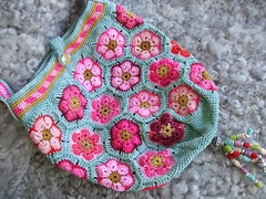 Chinese Rose (MiA Inspiration) Tags: pink flower bag topf75 turquoise crochet charm embellishment cerise africanflower