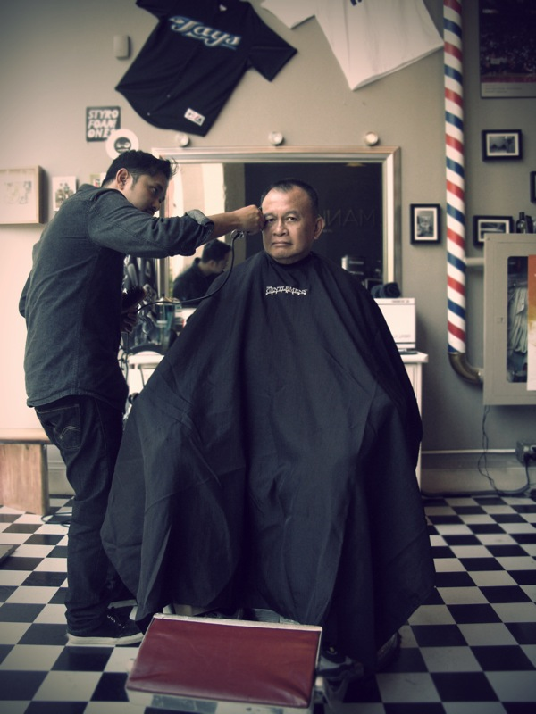 my dad at the barbershop, toronto