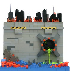 Viva la Revolucin! (tin) Tags: world city black toxic rock wall mushrooms fire lego acid pipe perspective burn prototype planet ba forced tron sewer sludge bf forcedperspective blacktron vivalarevolucion brickarms brickforge brickarmsprototype