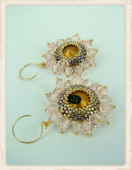 Sparkling Stars & Silk Beadwoven Earrings - BACK (Social Butterfly Jewellery) Tags: beadedjewellery handmadeearrings beadedjewelry beadedearrings flowerearrings crystalearrings bridaljewellery madeinmelbourne bridalearrings melissaingram socialbutterflyjewellery beadwovenearrings swarovskidesigns swarovskicrystaldesigns bridalhandmadejewellery