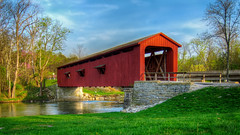 Covered Bridge at Cataract Falls, IN (don j schulte @ oxherder arts) Tags: bridge red usa river stream vibrant indiana covered coveredbridge americana hdr in cataractfalls photomatix 3exp