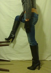 Jeans & boots 01 (cdinboots) Tags: leather fetish high boots cd jeans gloves heel crossdresser crossdress stiefel highheelboots tightjeans