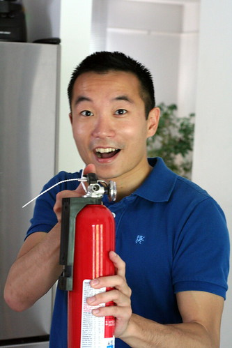 Jack with fire extinguisher