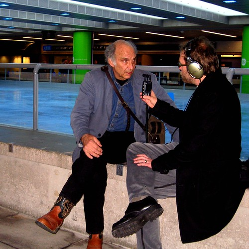 Interviewing poet Randall Maggs at robson square
