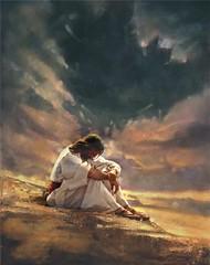Jesus praying in the wilderness