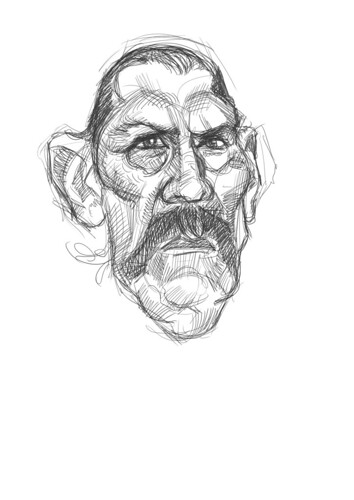 digital sketch of Danny Trejo - 1